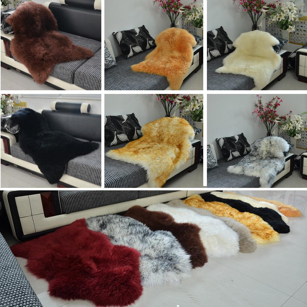 Luxe Faux peau de mouton agneau naturel Long laine fourrure tapis tapis tapis chambre-in Tapis from Maison & Animalerie    2