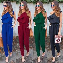 NEW Women Ladies Sexy Summer Off One Shoulder Playsuit Bodycon Party Reffles Casual 4 Colors Solid Jumpsuit Romper Trousers