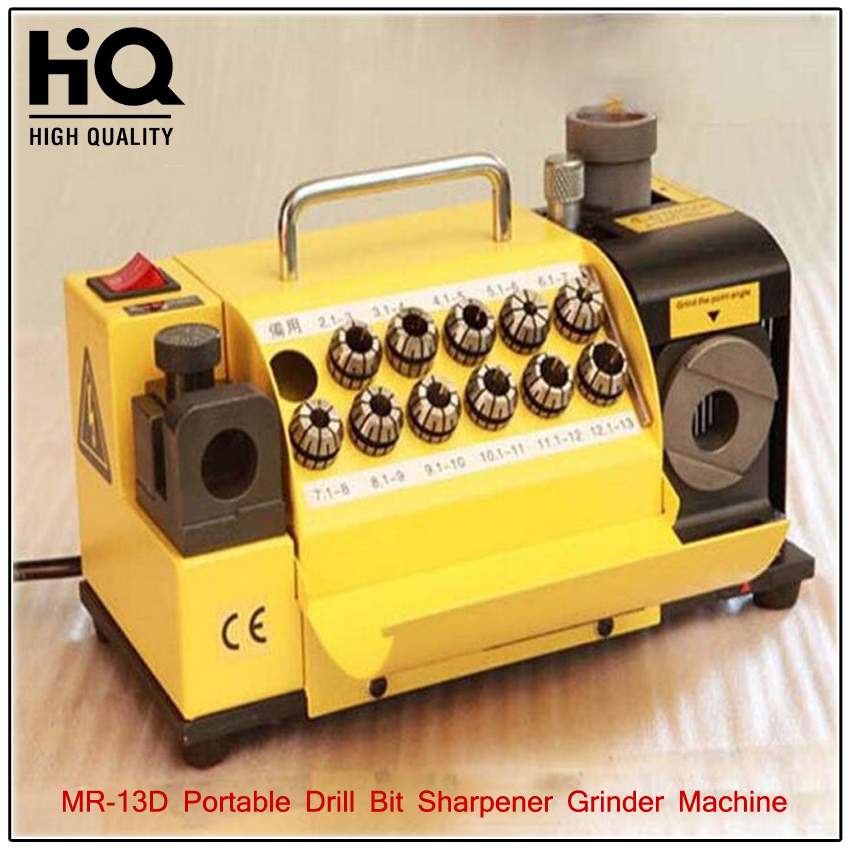 MR 13D Drill Bit Grinder portable Carbide Tools Drill Bit Sharpener Grinder Machine 180W 110V/220V CBN or SDC Standard Wheel