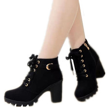 2017 New Autumn Winter Women Boots High Quality Chunky Heels Ankle European Ladies Shoes Pu Fashion
