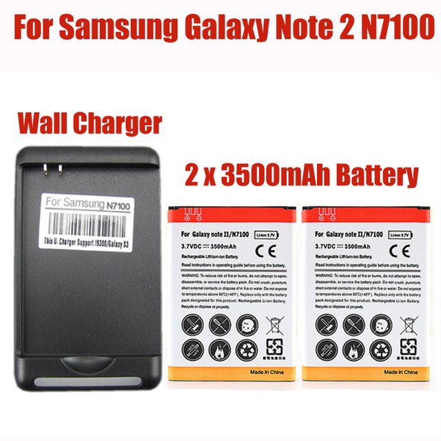 2x 3500mah replacement Batteria For Samsung Galaxy Note 2 II GT-N7100 N7100 Battery + Wall Charger