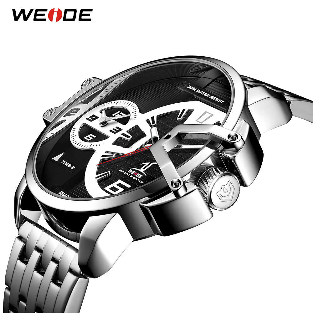 WEIDE צבאי שעונים Relogio Masculino גברים קוורץ אנלוגי תצוגת נירוסטה רצועת שעון גדול שחור חיוג אוטומטי שעון