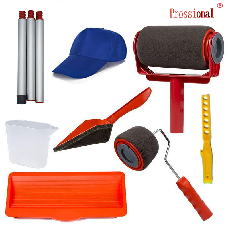 9pcs Seamless Paint Runner Pro Roller Brush Handle Tool Flocked Edger Office Room Wall Painting Home Garden Paint Rollers Set