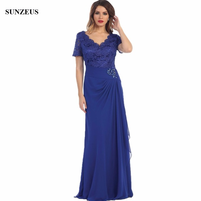 66a56a99a6a3 Beaded V-neck Lace Short Sleeve Mother Of The Bride Dress Blue Chiffon Long  Party Gowns For Women Custom-made CM047