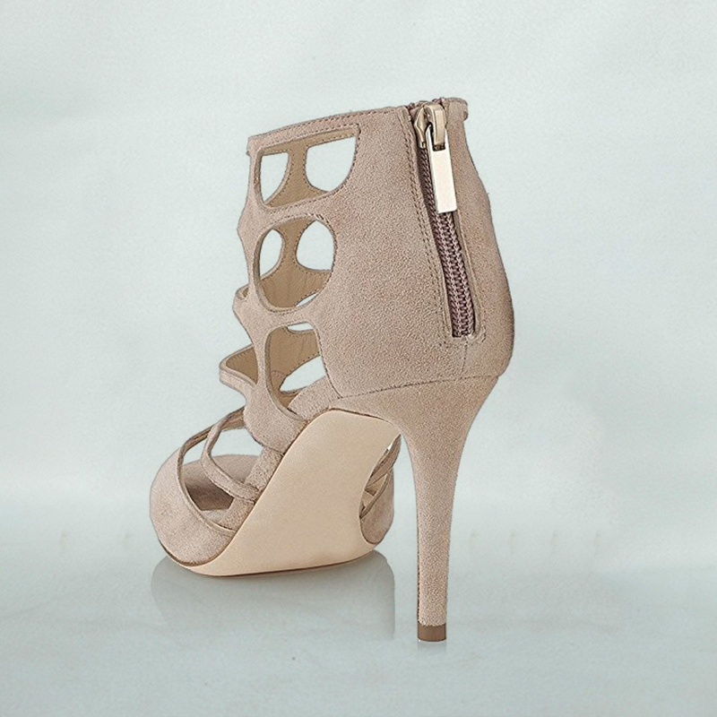 bbb385854bb1ac Summer Nude Flock Women Caged Dress Sandals Chic Peep Toe Roman Style Shoes  Cutout Strappy High Heels 3.9 Inchs FSJ Size 11-in Women s Sandals from  Shoes on ...