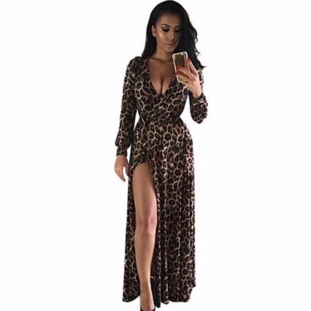 Women sexy deep V-neck Leopard Print dress female Low Cut Slit bandage long  dresses long sleeve elegant evening party dress Boho 2027b44b4