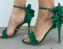 Women Ruffle Flounce High heel Suede Stiletto Open Toe Sexy Mature Sandals  Green Dress Shoes Buckle недорого
