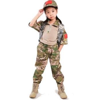 Camiseta de manga corta para niños Fans del ejército, verano, para acampar y disparar, pantalones de Chico, deportes al aire libre CS Airsoft, uniforme de entrenamiento de camuflaje