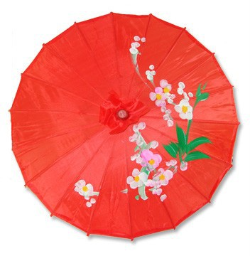 [ Fly Eagle ] Chinese Japanese Oriental Umbrella Parasol 22in Transparent Red