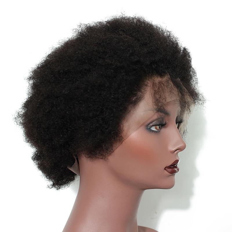 Mongoolse Afro Kinky Culy Lace Front Menselijk Haar Pruiken Kort Menselijk Haar Kant Voor Bob Pruik Pre Geplukt Dolago Remy 130% 13x4 - 3