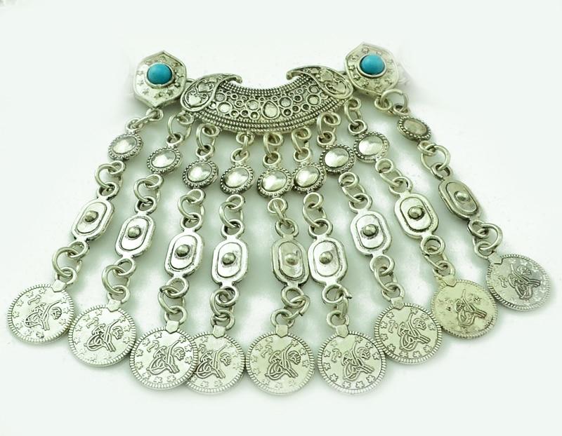 Bohemian Fringe Boho Gypsy Antalya Ebony Silver Festival Coachella Turkish India Ethnic Coin Collar Statement Necklace
