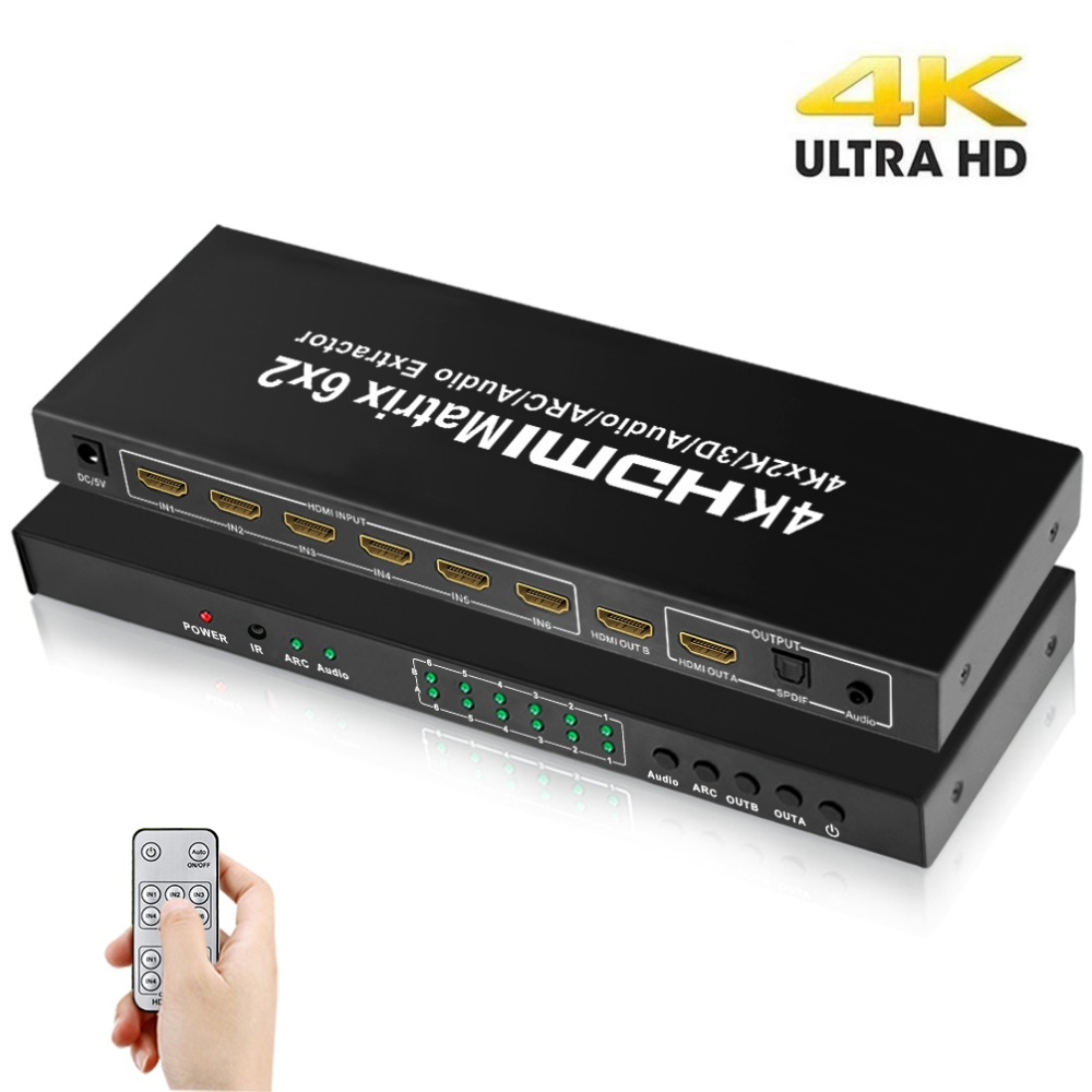 Aikexin 4 K HDMI Matrix 6x2 HDMI commutateur séparateur 6 entrée 2 sortie HDMI1.4 séparateur vidéo Support extracteur optique/Audio pour DVD
