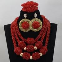Trendy Luxury Nigerian Wedding Crystal Beads Statement Necklace Sets Red African Fashion Bridal Jewerly Sets Free ShippingABL816