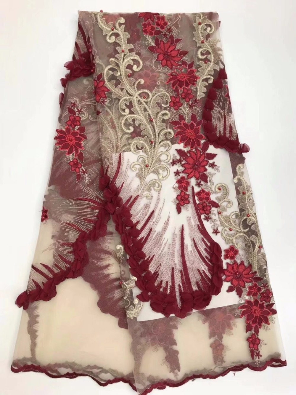 wine lace fabric handmade beaded nigerian lace fabric 2018 high quality lace 3d flower embroidered tulle 5yardlotMJF-17