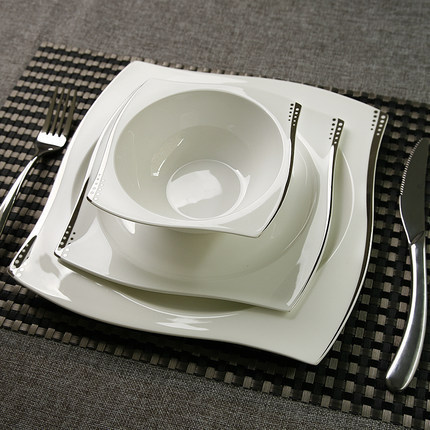Western Dinner Plates Porcelain Set Bone China Dinnerware Set Silver Lining  Dots Flat Plate 10.5u0027
