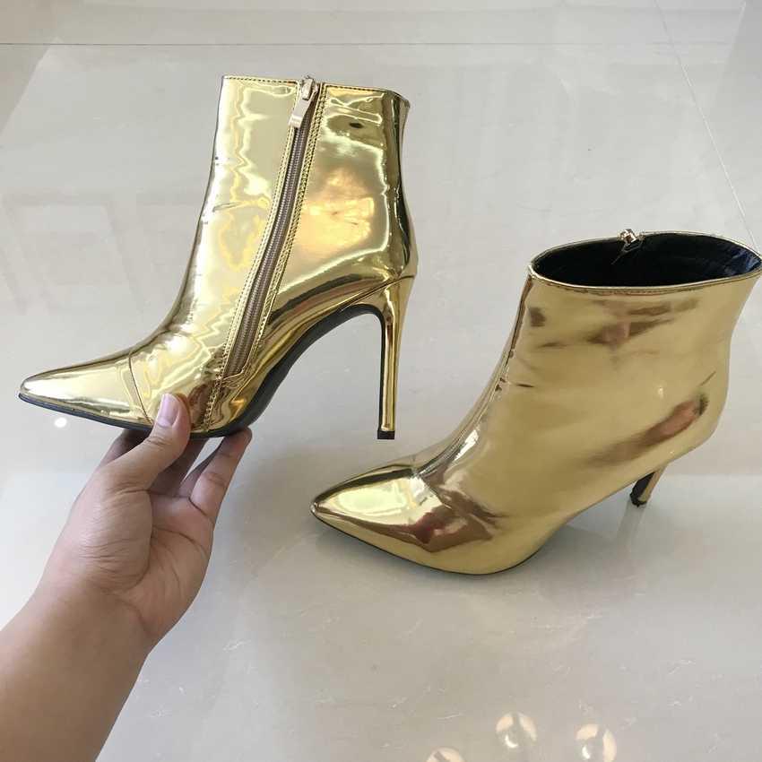 10.5 เซนติเมตรผู้หญิงข้อเท้ารองเท้าผู้หญิงรองเท้าส้นสูงรองเท้าผู้หญิงฤดูหนาว Botas รองเท้าส้นสูงทองเงินสิทธิบัตรหนังฤดูหนาวรองเท้า
