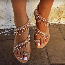 2020 Vintage Boho Sandali di Cuoio Delle Donne Che Borda Sandali Piani Delle Donne Bohimia Sandali Da Spiaggia Scarpe Più Il Formato Estate di Modo della Donna