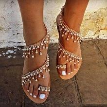 2020 w stylu Vintage Boho sandały damskie skórzane frezowanie sandały na płaskim obcasie kobiety bohemia plaża sandały buty Plus rozmiar lato moda kobieta