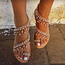 2020 Vintage Boho sandalet kadın deri boncuk düz sandalet kadın Bohimia plaj sandaletleri ayakkabı artı boyutu yaz moda kadın