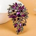 Luxo champagne estrelas roxo broche de brilhante de cristal austríaco Hijab pinos e Broches Broches de natal agradável
