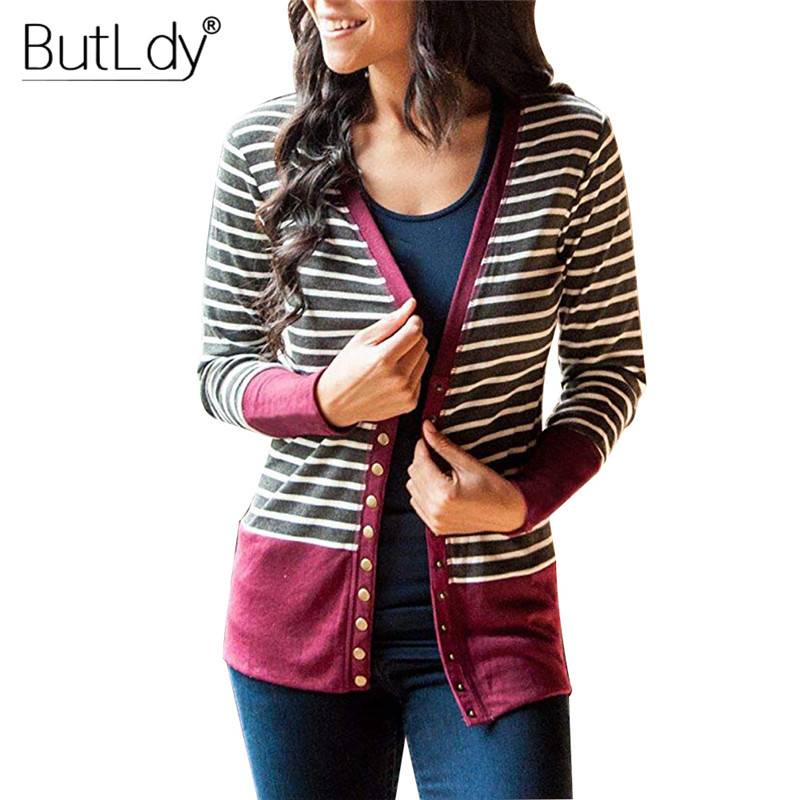 Striped Patchwork Sweater Women Cardigan Autumn 2019 V Neck Buttons Outerwear Fashion Elegant Knit Coat Open Stitch Top Sweater cardigan