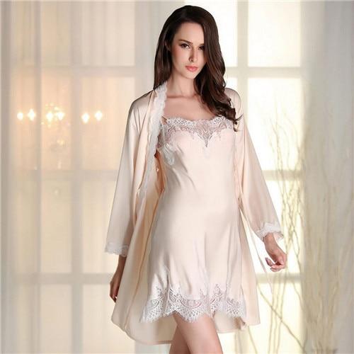70a2a07556 2017 Robe Gown Set Sexy Women Nightwear 2 pieces set Silk Bathrobe Home  Dress Sleepwear