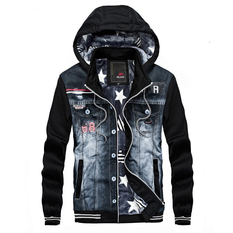 MORUANCLE мужские Повседневное Джинсовые куртки и пальто с флисовой подкладкой джинсовая куртка Верхняя одежда со съемным капюшоном в стиле пэ...