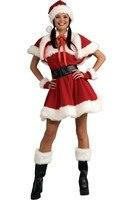New Arrival Santa Red Dress Leggings Sexy Velvet Miss Santa Cosplay Costume woman  sexy uniform christmas  Costumes LC7152