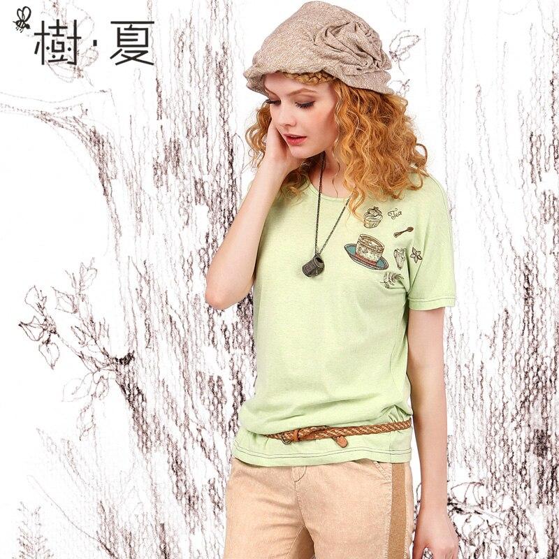 ARTKA été nouveau femmes T-shirt lâche motif broderie T-shirt à manches courtes col rond vert T-shirt pour les femmes TA10257X - 3