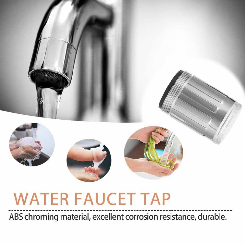 Green 3 Color LED Light Change Faucet Shower Water Tap Temperature Sensor No Battery Water Faucet Glow Shower Left Screw