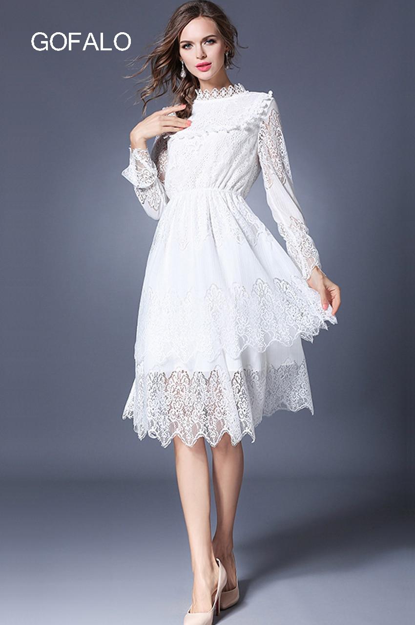 Fashion Dresses Accessories: GOFALO Spring Women Solid White Lace Dresses 2017 Ukraine