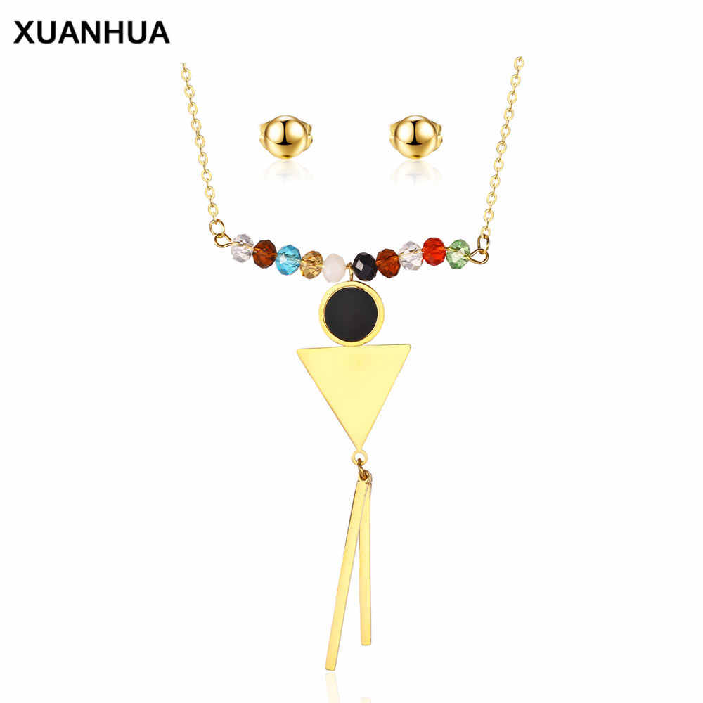 XUANHUA Stainless Steel Jewelry Set For Women Bridal Indian Jewelry Set Wedding Crystal Beads For Girls Fashion Jewelry Bohemian