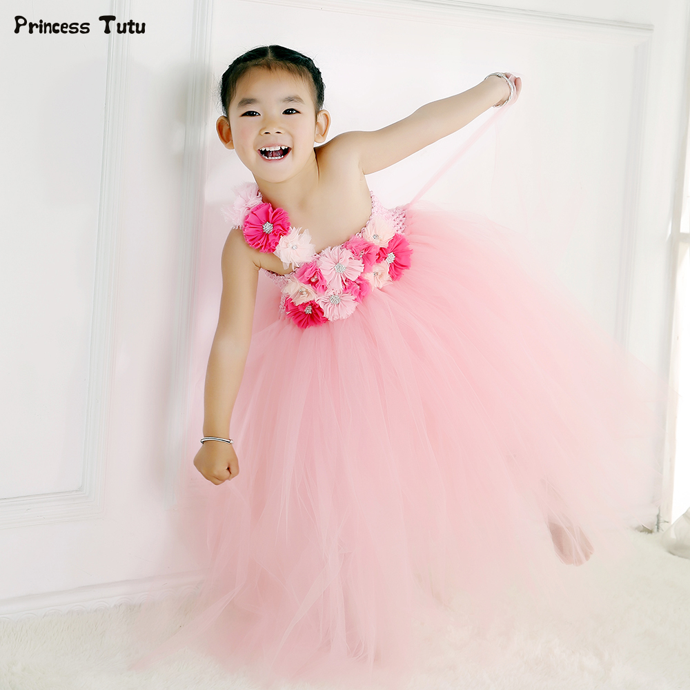Girls Wedding Flower Girl Dresses Baby Girl Birthday Party Tutu Dress Children Pageant Ball Gowns For Girls Kids Princess Dress padded halter string bikini