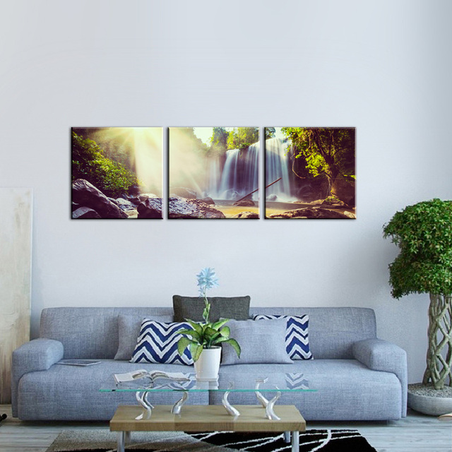 Wonderful 3 Panel Waterfall Art Wall Decor Painting on Canvas, 3D Forest  EC18