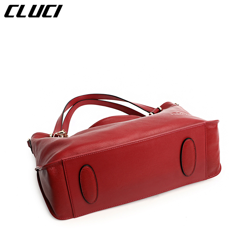 1badd80fc675 CLUCI Women Brand Handbags Soft Genuine Cow Leather Tote Bags Zipper Black Red  Large High Quality Vintage Casual Totes Women-in Top-Handle Bags from  Luggage ...