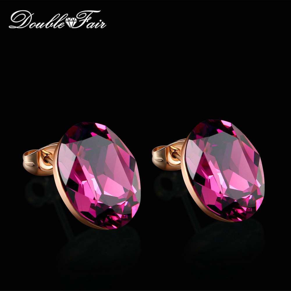 Double Fair Charm Purple Oval CZ Stone Stud Earrings Rose Gold Color Fashion Brand Earrings For Women Wedding Party DFE571