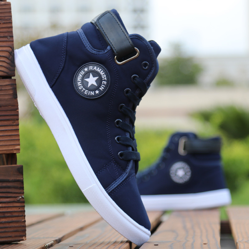 Men's High-top Canvas Shoes Men 2018 New Spring Autumn Top Fashion Sneakers Lace