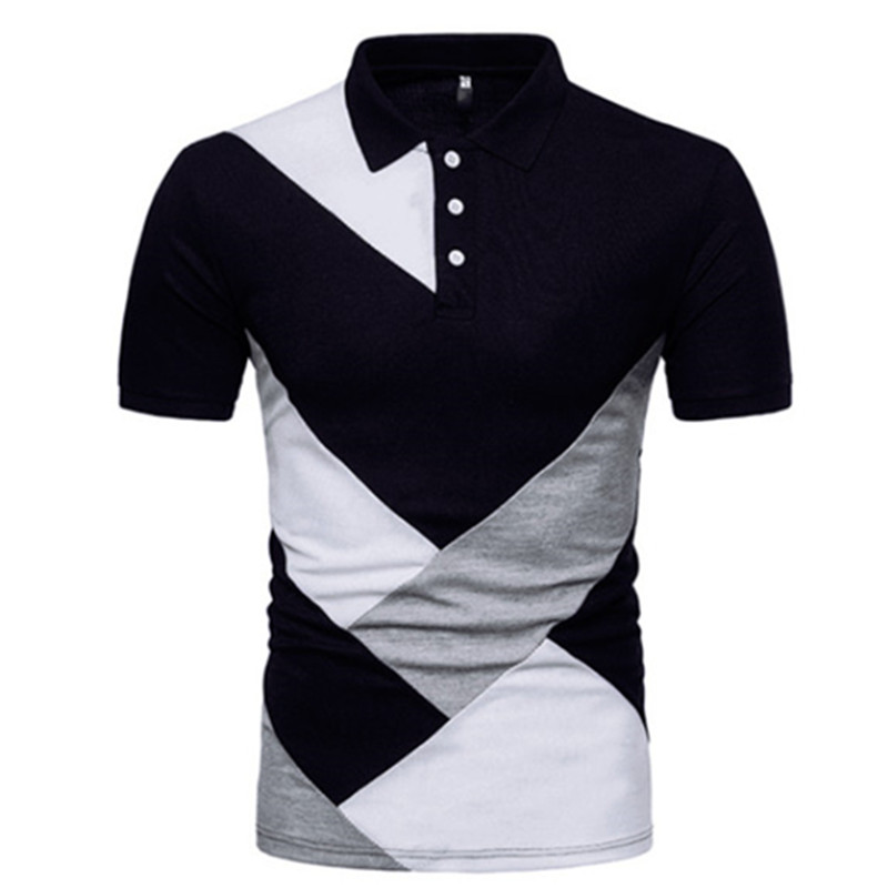 Mens Color Stitching Custom Fit Lapel Casual T-Shirt Short Sleeve Polo Shirt