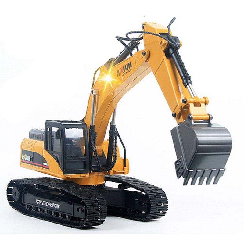 HUINA 1580, 580 1:14 23Ch RC completa de aleación de excavadora RC grande Rc Nueva versión completa de Metal excavadora de Control remoto
