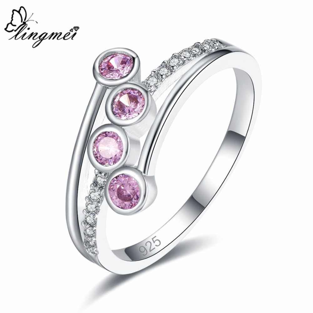 lingmei Wedding Fashion Round Cut Champagne &Pink & White Cubic Zircon Silver Ring Size 6 7 8 9 For Women Xmas Gifts Jewelry