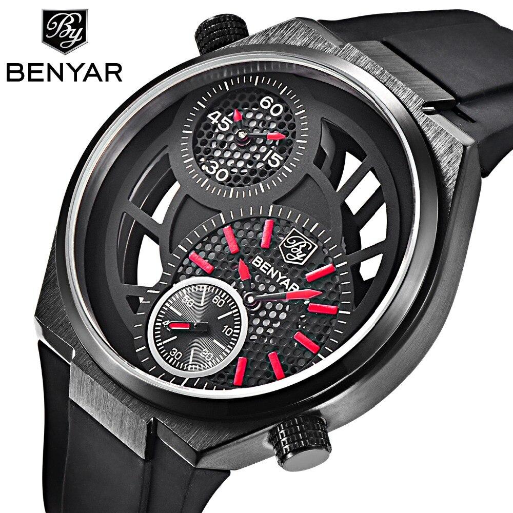 BENYAR Hollow Sports Skeleton Watch Men All Small Dial Work Mens Watches Top Brand Luxury Fashion Quartz-Watch Relogio Masculino