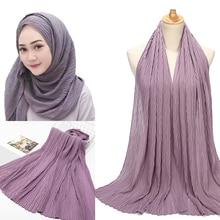 10 Stks/partij Mode Vlakte Blad Geplooide Bubble Chiffon Sjaal Rimpel Lange Sjaals Hijab Crumple Pashmian Moslim Sjaals/Sjaal