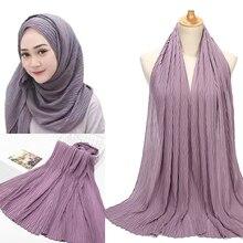 Bufanda de gasa plisada de hojas lisas 10 unids/lote, chales largos arrugados, hiyab, pañuelos musulmanes/bufanda