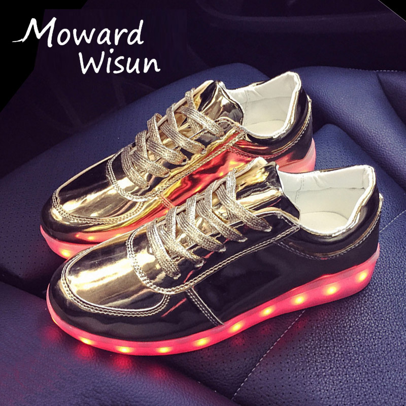 Fashion Luminous Glowing Shoes with Light Up Sole Sneakers Basket LED Slippers Female Shoes for Kids Boy Girls Basket Femme 30