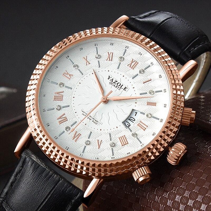 YAZOLE Rose Gold Uhr Männer Top Marke Luxury Business Goldene Handgelenk Uhren Für Männliche Uhr Quarz Armbanduhr Relogio Masculino