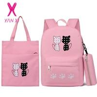 3 Pcs Backpack Set Girl School Bags for Teenager Children Kawaii Cute Cat Printing Women Backpack Shoulder Bag+Pencil Case