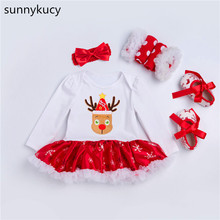 sunnykucy New Christmas  baby deer Lin long-sleeved childrens wear, red skirt four-piece suit European and American 2018