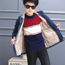 bianhuakai Jeans fleece coats winter denim kids Boys Jacket