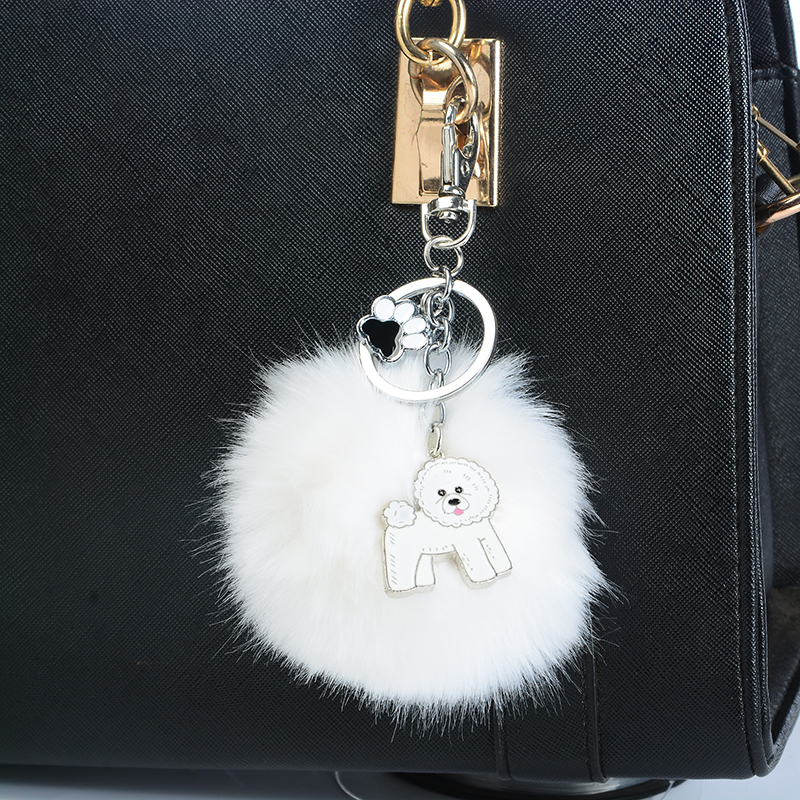 Rabbit Fur Pompom Bichon Frise Key Chains For Women Men Alloy Pom Pom Ball Dog Pendant Bag Charm Keyring Car Keychain Key Ring