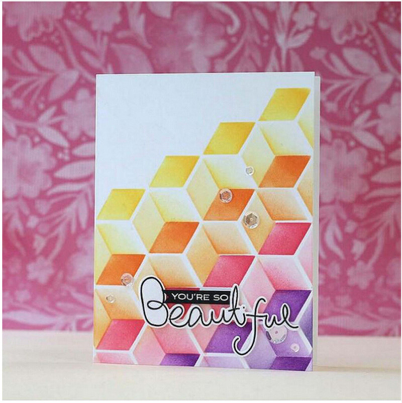 Art Box Cube Builder Stencil for DIY Scrapbooking Decorative Embossing DIY Paper Cards Crafts Plastic Templates Drawing Sheets